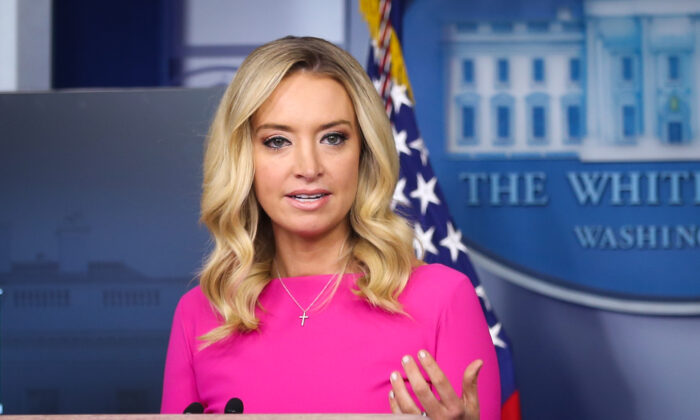 White House Press Secretary Kayleigh McEnany during a press briefing in the White House in Washington on Dec. 2, 2020. (Charlotte Cuthbertson/The Epoch Times)