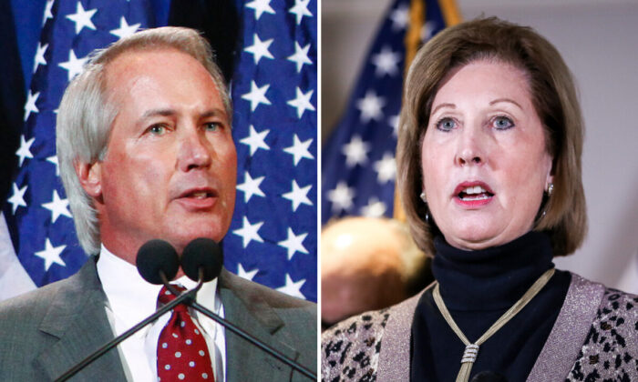 Lin Wood (L) speaks at a press conference in Scottsdale, Ariz., on Nov. 8, 2021. (Eric Thayer/Getty Images) Lawyer Sidney Powell (R) speaks at a press conference at the Republican National Committee headquarters in Washington on Nov. 19, 2020. (Charlotte Cuthbertson/The Epoch Times)