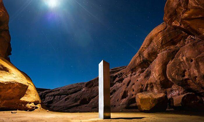 A monolith was seen in a red-rock desert in San Juan County, southeastern Utah, on Nov. 27, 2020. (Terrance Siemon via AP)