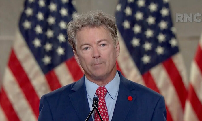 Sen. Rand Paul (R-Ky.) addresses the virtual 2020 Republican National Convention on Aug. 25, 2020. (The Committee on Arrangements for the 2020 RNC via Getty Images)