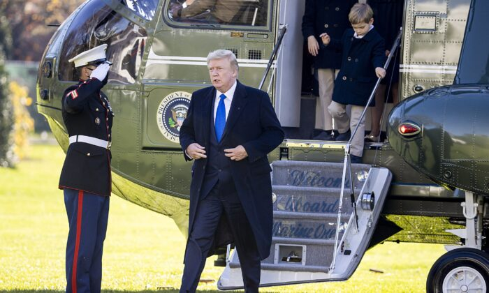 President Donald Trump disembarks Marine One on the south lawn of the White House in Washington on Nov. 29, 2020. (Tasos Katopodis/Getty Images)