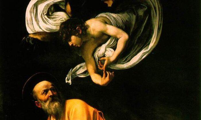 "A detail from ""The Inspiration of Saint Matthew,"" 1602, by Caravaggio. Oil on Canvas; 9 feet 8.5 inches by 6 feet 2.5 inches. Contarelli Chapel, Church of San Luigi dei Francesi, Rome. (Public Domain)"