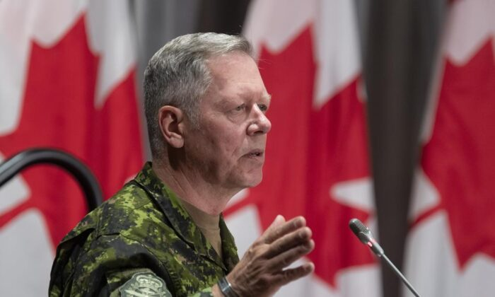 Chief of Defence Staff Jonathan Vance responds to a question during a news conference, on June 26, 2020 in Ottawa. (The Canadian Press/Adrian Wyld)