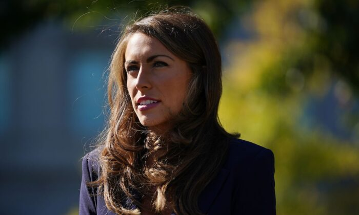 Then-White House Director of Strategic Communications Alyssa Farah speaks to reporters in front of the West Wing of the White House in Washington on Oct. 8, 2020. (Mandel Ngan/AFP via Getty Images)