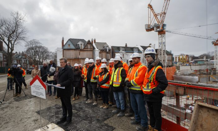 Toronto Mayor John Tory speaks during a news conference at a construction site that will soon house residential housing in Toronto, Canada, on Jan. 16, 2020. (Cole Burston/The Canadian Press)