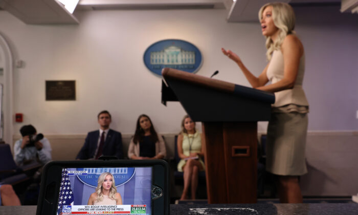 White House press secretary Kayleigh McEnany appears live and on Fox News on device during a news conference in Washington on June 30, 2020. (Chip Somodevilla/Getty Images)