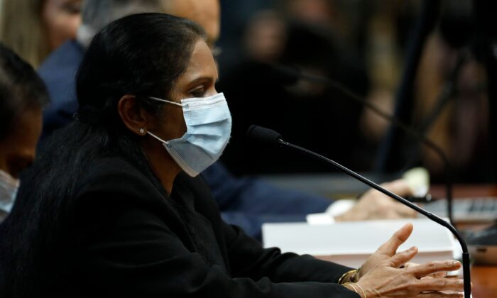 Detroit poll worker Jessy Jacob appears before the Michigan House Oversight Committee in Lansing, Mich., on Dec. 2, 2020. (Jeff Kowalsky/AFP via Getty Images)