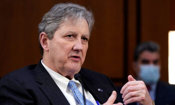Sen. John Kennedy (R-La) speaks during the Senate Judiciary Committee on the fourth day of hearings on Supreme Court nominee Amy Coney Barrett, on Oct. 15, 2020. (Susan Walsh / POOL / AFP via Getty Images)