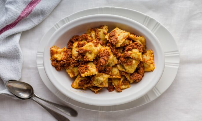 These simple tortelli are traditionally dressed with a robust meat sauce. (Giulia Scarpaleggia)