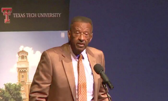"Dr. Walter E. Williams, John M. Olin Distinguished Professor of Economics at George Mason University, gave a public lecture titled ""The Role of Government in a Free Society"" at Texas Tech University on Sept. 19, 2013. (Free Market Institute at Texas Tech University)"