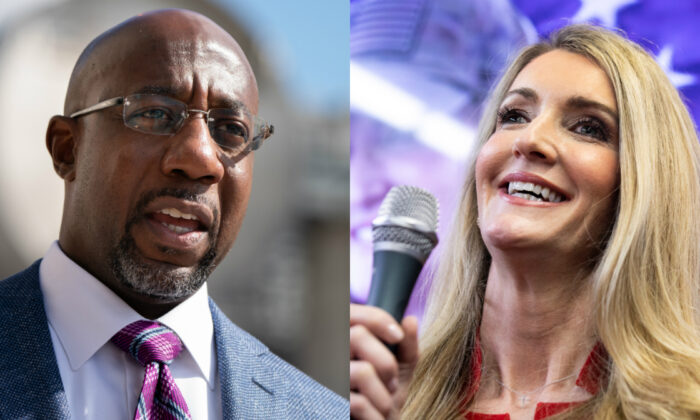Democratic nominee for one of Georgia's U.S. Senate seats Raphael Warnock (L) and Sen. Kelly Loeffler (R-Ga.) in file photographs. (Getty Images)