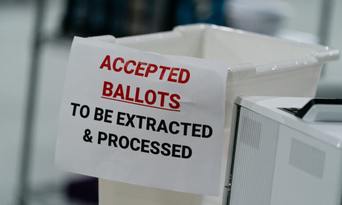 A ballot bin is seen at the Gwinnett County Board of Voter Registrations and Elections offices in Lawrenceville, Ga. on Nov. 7, 2020. (Elijah Nouvelage/Getty Images)
