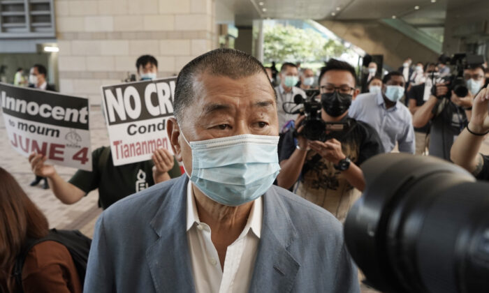 Jimmy Lai arrives at a court in Hong Kong Oct. 15, 2020. (Kin Cheung/AP)