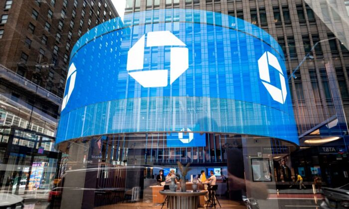 The logo of Chase bank is seen in Manhattan, New York City, on June 30, 2020. JOHANNES EISELE/AFP via Getty Images