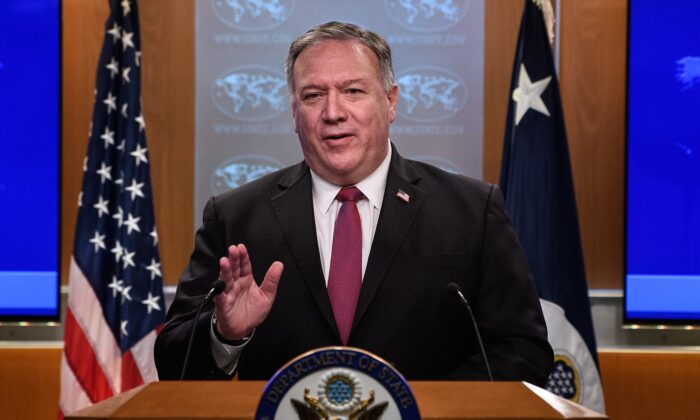 US Secretary of State Mike Pompeo speaks at a press conference at the State Department in Washington, DC, on Oct. 21, 2020. -(NICHOLAS KAMM/POOL/AFP via Getty Images)