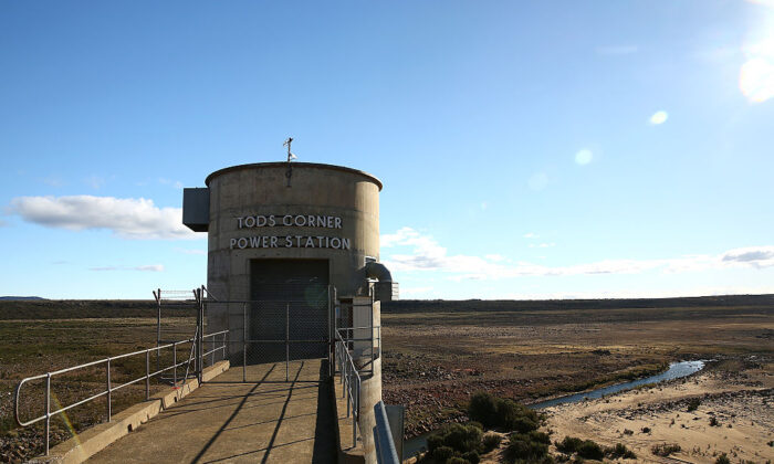 Lower water levels at Tods Corner hydroelectric power station off the Great Lake in Breona, Tamsania, Australia on April 17, 2016. (Mark Kolbe/Getty Images)