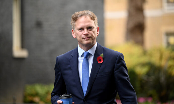Secretary of State for Transport, Grant Shapps, arrives at Downing Street in London, on Nov. 10, 2020. (Leon Neal/Getty Images)