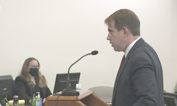 Trump campaign attorney Jesse Binnall presents arguments at an evidentiary hearing in a Nevada election contest in Carson City, Nev., on Dec. 3, 2020. (NTD Television)