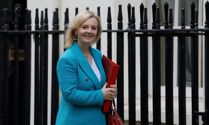 Britain's International Trade Secretary Liz Truss reacts as she arrives in Downing Street in London on Oct. 19, 2020. (Tolga Akmen/AFP via Getty Images)