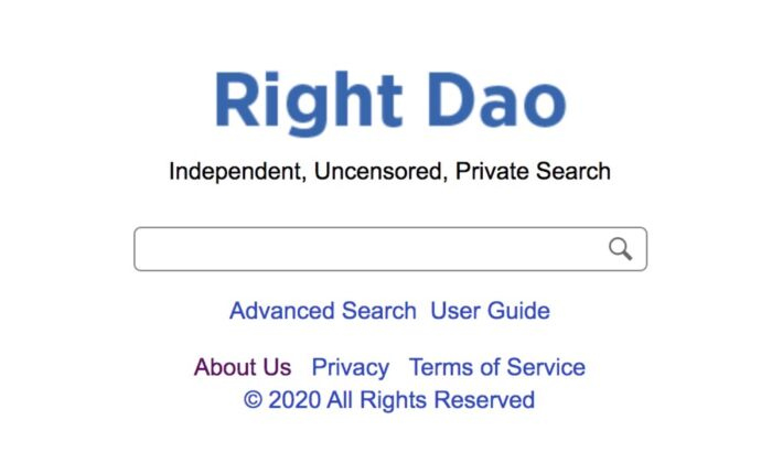 A group of U.S.-based programmers developed Right Dao search engine. (screenshot/rightdao.com)