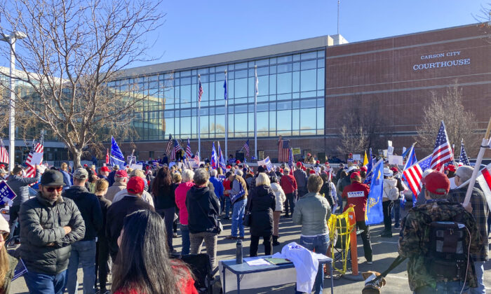Protesters rally outside the Carson City Courthouse in Carson City, Nev., on Dec. 3, 2020, to support election integrity. (The Epoch Times)