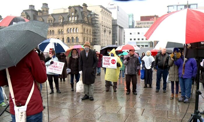Protesters at the Stop the Ban rally against Bill C-6 on Parliament Hill in Ottawa on Dec. 4, 2020. (Gerry Smith/NTD Television)