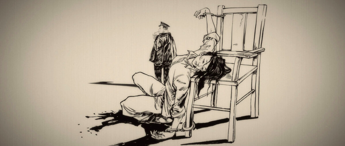 """woman tied to chair in prison in """"Up We Soar"""""""