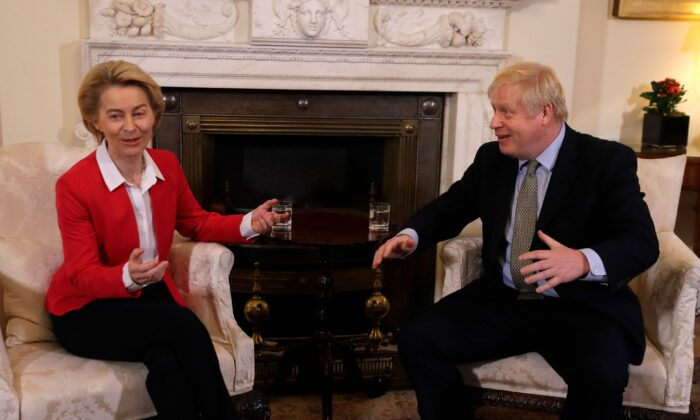 Britain's Prime Minister Boris Johnson listens to European Commission President Ursula von der Leyen ahead of their meeting inside 10 Downing Street, in central London, UK, on Jan. 8, 2020. (Kirsty Wigglesworth/Pool/AFP via Getty Images)