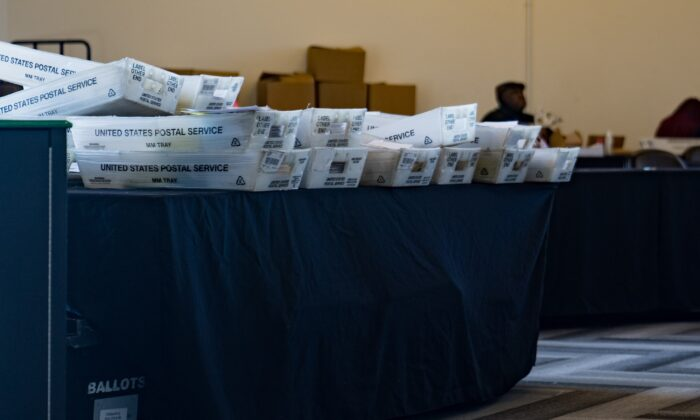 Filing boxes sit off to the side at an absentee ballot processing room at State Farm Arena in Atlanta on Nov. 2, 2020. (Megan Varner/Getty Images)