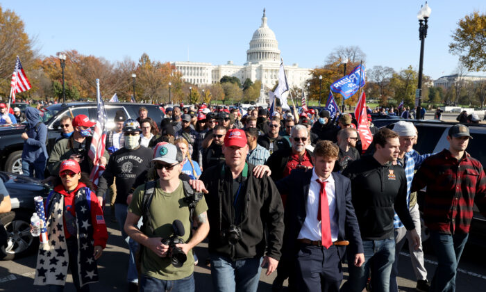 "People participate in the ""Million MAGA March"" supporting President Donald Trump from Freedom Plaza to the Supreme Court, in Washington on Nov. 14, 2020. (Tasos Katopodis/Getty Images)"
