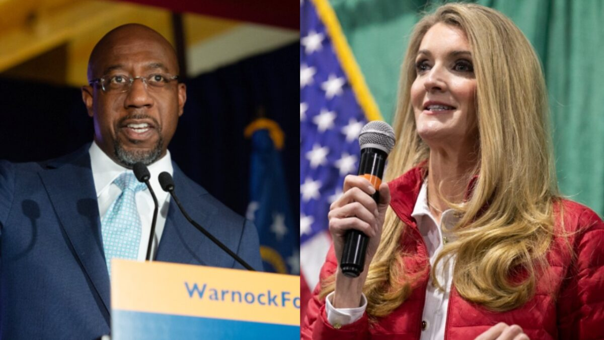 Raphael Warnock and Kelly Loeffler