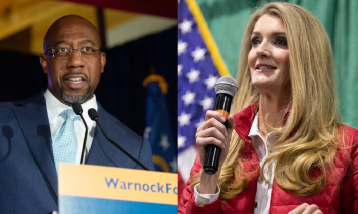 Left: Democratic U.S. Senate candidate Rev. Raphael Warnock speaks during an Election Night Event in Atlanta, Ga., on Nov. 3, 2020.