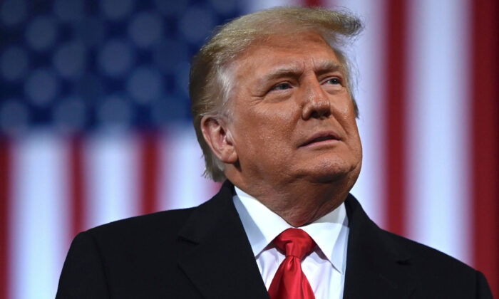 President Donald Trump addresses the crowd on Dec. 5, 2020, at a rally for Sens. Kelly Loeffler (R-Ga.) and David Perdue (R-Ga.), who are both facing runoff elections  in Valdosta, Ga. (Andrew Caballero-Reynolds/AFP via Getty Images)