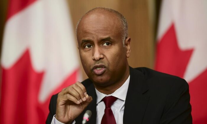 Minister of Families, Children, and Social Development Ahmed Hussen takes part in an update on the COVID pandemic during a press conference in Ottawa on Oct. 27, 2020. (The Canadian Press/Sean Kilpatrick)