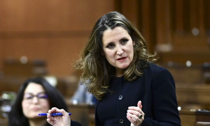 Finance Minister Chrystia Freeland responds to a question after delivering the 2020 fiscal update in the House of Commons on Nov. 30, 2020. (The Canadian Press/Sean Kilpatrick)