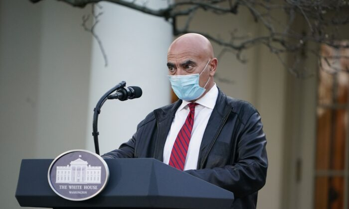 Dr. Moncef Slaoui, vaccine expert, delivers an update on Operation Warp Speed in the Rose Garden of the White House in Washington on Nov. 13, 2020. (Mandel Ngan/AFP via Getty Images)