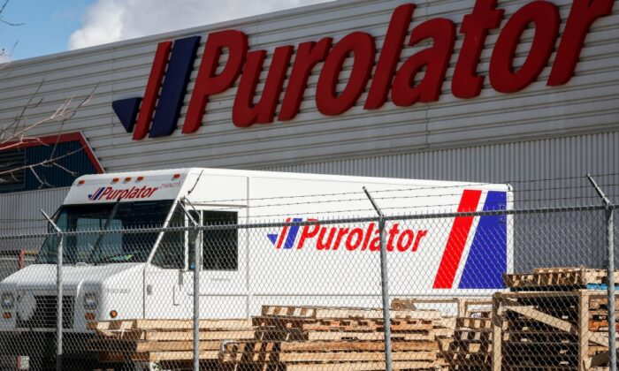 The main Purolator sort plant is seen in Calgary, Alta., on May 9, 2020, confirmed cases of COVID-19 have occured at the facility. (The Canadian Press/Jeff McIntosh)