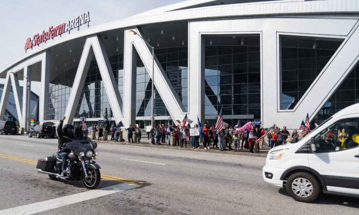 Supporters of President Donald Trump protest outside State Farm Arena as ballots are counted inside, in Atlanta, on Nov. 5, 2020. (Megan Varner/Getty Images)