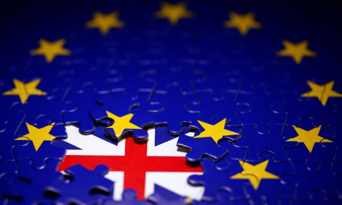Puzzle with printed EU and UK flags is seen in this illustration taken on Nov. 13, 2019. (Dado Ruvic/Reuters)