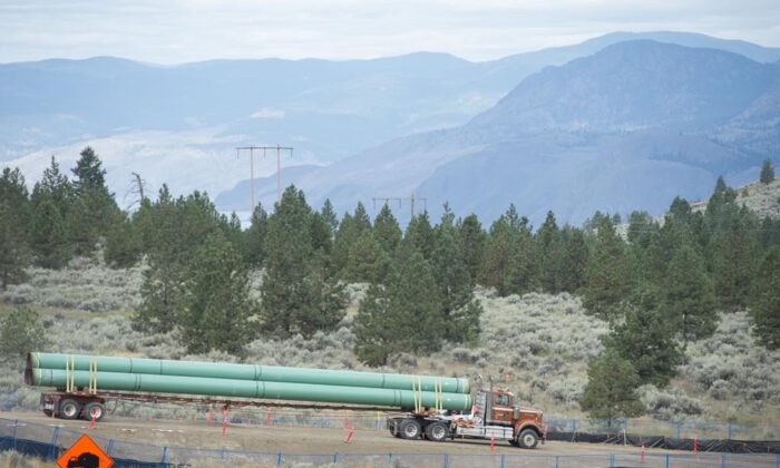 Construction of the Trans Mountain pipeline is seen under way in Kamloops, B.C., on Sept. 1, 2020. (The Canadian Press/Jonathan Hayward)
