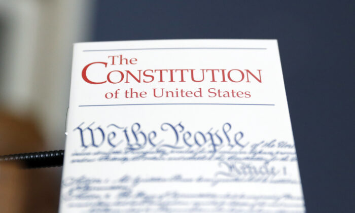 A copy of the U.S. Constitution during a House hearing on Dec. 17, 2019. (Andrew Harnik/Pool/Getty Images)