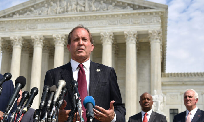Texas Attorney General Ken Paxton speaks during the launch of an antitrust investigation into large tech companies outside of the Supreme Court in Washington on Sept. 9, 2019.(Mandel Ngan/AFP via Getty Images)