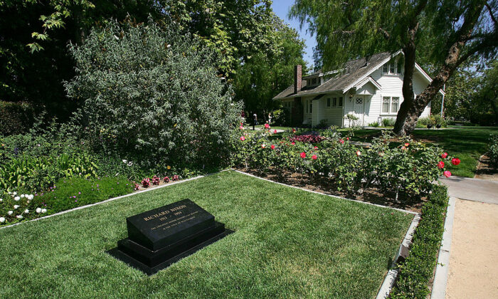 The house where President Richard Nixon was born and his grave are seen at the Richard Nixon Library & Museum in Yorba Linda, Calif., on May 31, 2005. (David McNew/Getty Images)