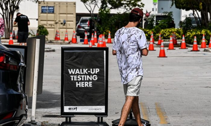 A man walks-up at a COVID-19 testing site in Miami Beach, Florida, on Nov. 17, 2020.(CHANDAN KHANNA/AFP via Getty Images)
