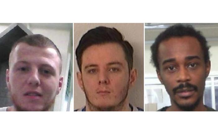 L to R Lewis Daniel Thornton, Daniel Gerald Ferris, and Rory Allen (Courtesy of Derbyshire police on Dec. 7 2020.)