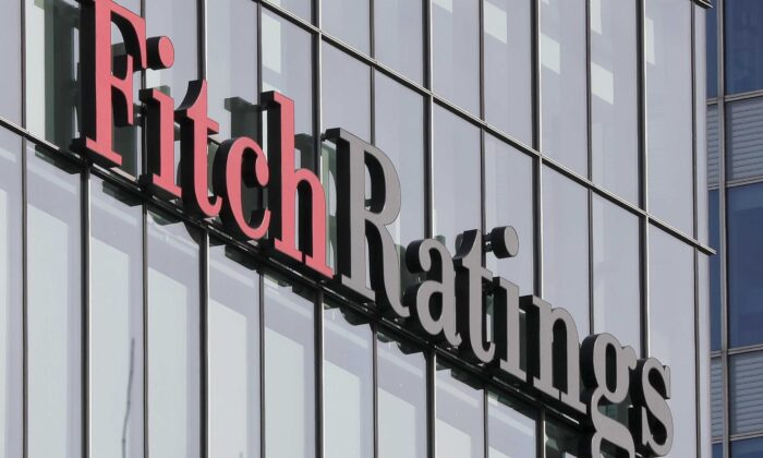 The Fitch Ratings logo is seen at their offices at Canary Wharf financial district in London, Britain, on March 3, 2016. (Reinhard Krause/Reuters)