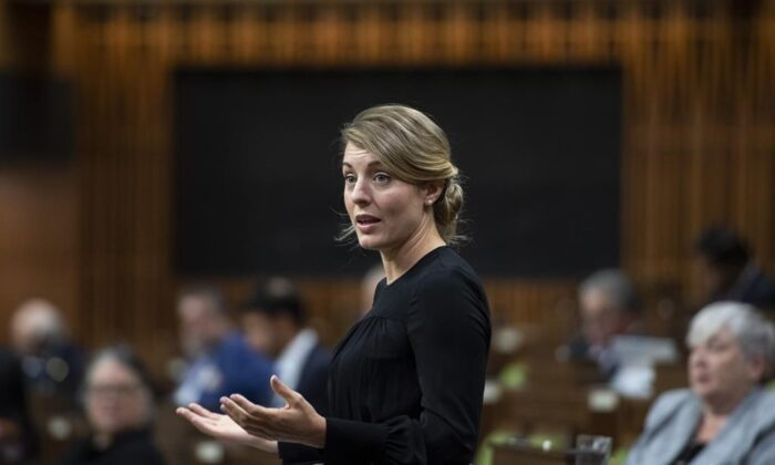 Minister of Economic Development Melanie Joly rises during Question Period in the House of Commons on Parliament Hill in Ottawa on Oct. 1, 2020. (THE CANADIAN PRESS/Justin Tang)