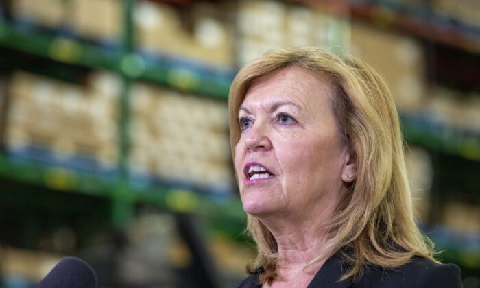 Ontario Health Minister Christine Elliott answers questions during a briefing at McKesson Canada in Toronto on Dec. 1, 2020. (Frank Gunn/The Canadian Press)