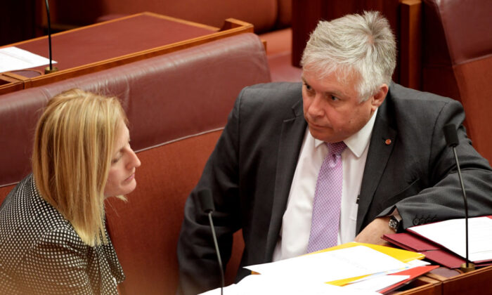 Senator Rex Patrick (R) speaks to Senator Katy Gallagher while the debate on the Treasury Laws Amendment Bill 2019 continues in the Senate at Parliament House on July 04, 2019 in Canberra, Australia.  (Tracey Nearmy/Getty Images)