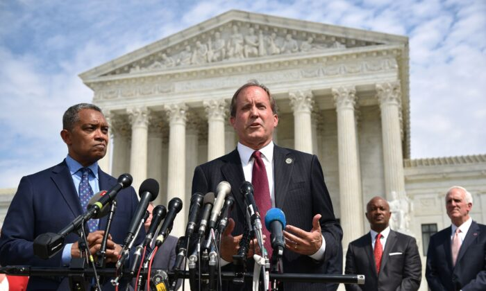 Texas Attorney General Ken Paxton speaks during the launch of an antitrust investigation into large tech companies outside of the U.S. Supreme Court in Washington on Sept. 9, 2019. (Mandel Ngan/AFP via Getty Images)